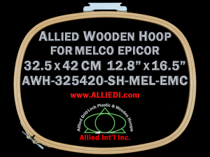 32.5 x 42.0 cm (12.8 x 16.5 inch) Oval Allied Wooden Embroidery Hoop, Single Height - Melco Epicor (EMC) Flat Table