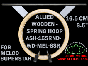 16.5 cm (6.5 inch) Round Allied Wooden Embroidery Hoop, Spring Load - Melco Superstar (SSR) Flat Table