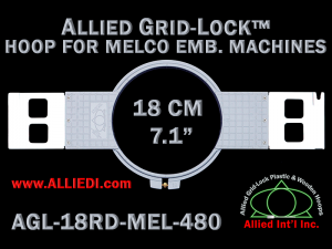 18 cm (7.1 inch) Round Allied Grid-Lock Plastic Embroidery Hoop - Melco 480