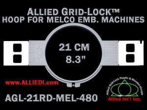 21 cm (8.3 inch) Round Allied Grid-Lock Plastic Embroidery Hoop - Melco 480