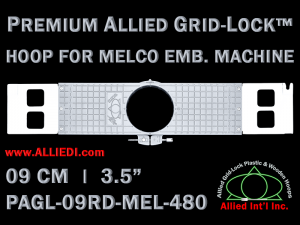9 cm (3.5 inch) Round Premium Allied Grid-Lock Plastic Embroidery Hoop - Melco 480