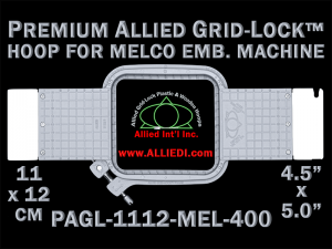 Melco 11 x 12 cm (4.5 x 5 inch) Rectangular Premium Allied Grid-Lock Embroidery Hoop for 400 mm Sew Field / Arm Spacing