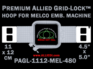 11 x 12 cm (4.5 x 5 inch) Rectangular Premium Allied Grid-Lock Plastic Embroidery Hoop - Melco 480