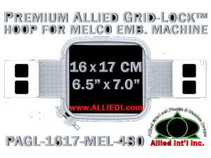 16 x 17 cm (6.5 x 7 inch) Rectangular Premium Allied Grid-Lock Plastic Embroidery Hoop - Melco 480