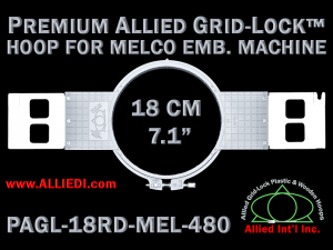 18 cm (7.1 inch) Round Premium Allied Grid-Lock Plastic Embroidery Hoop - Melco 480