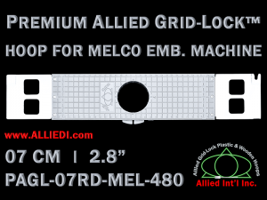 Melco 7 cm (2.8 inch) Round Premium Allied Grid-Lock Embroidery Hoop for 480 mm Sew Field / Arm Spacing