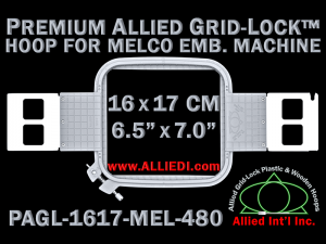 Melco 16 x 17 cm (6.5 x 7 inch) Rectangular Premium Allied Grid-Lock Embroidery Hoop for 480 mm Sew Field / Arm Spacing