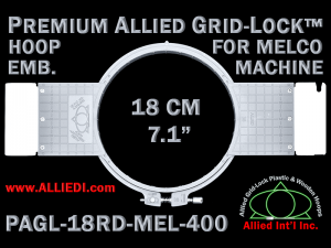 Melco 18 cm (7.1 inch) Round Premium Allied Grid-Lock Embroidery Hoop for 400 mm Sew Field / Arm Spacing
