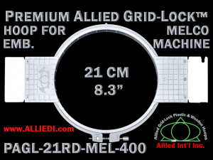 Melco 21 cm (8.3 inch) Round Premium Allied Grid-Lock Embroidery Hoop for 400 mm Sew Field / Arm Spacing