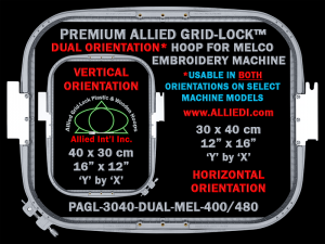 Melco 30 x 40 cm (12 x 16 inch) Rectangular Premium Allied Grid-Lock DUAL ORIENTATION Embroidery Hoop for 480 mm & 400 mm Sew Fields / Arm Spacings