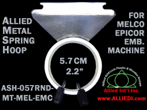 5.7 cm (2.2 inch) Round Single Height Allied Metal Embroidery Hoop, Spring Load - Melco Epicor (EMC) Flat Table