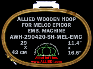 29.0 x 42.0 cm (11.4 x 16.5 inch) Oval Allied Wooden Embroidery Hoop, Single Height - Melco Epicor (EMC) Flat Table