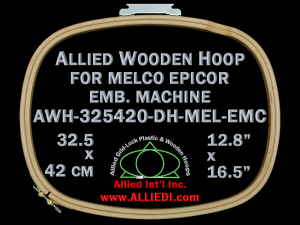 32.5 x 42.0 cm (12.8 x 16.5 inch) Oval Allied Wooden Embroidery Hoop, Double Height - Melco Epicor (EMC) Flat Table