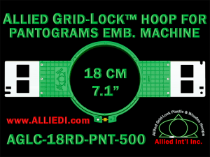 18 cm (7.1 inch) Round Allied Grid-Lock (New Design) Plastic Embroidery Hoop - Pantograms 500