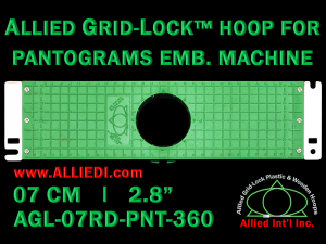 7 cm (2.8 inch) Round Allied Grid-Lock Plastic Embroidery Hoop - Pantograms 360