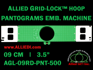 9 cm (3.5 inch) Round Allied Grid-Lock Plastic Embroidery Hoop - Pantograms 500