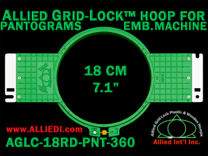 18 cm (7.1 inch) Round Allied Grid-Lock (New Design) Plastic Embroidery Hoop - Pantograms 360