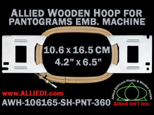 10.6 x 16.5 cm (4.2 x 6.5 inch) Rectangular Allied Wooden Embroidery Hoop, Single Height - Pantograms 360