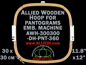 30.0 x 30.0 cm (11.8 x 11.8 inch) Rectangular Allied Wooden Embroidery Hoop, Double Height - Pantograms 360