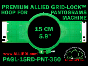 15 cm (5.9 inch) Round Premium Allied Grid-Lock Plastic Embroidery Hoop - Pantograms 360