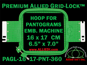 16 x 17 cm (6.5 x 7 inch) Rectangular Premium Allied Grid-Lock Plastic Embroidery Hoop - Pantograms 360
