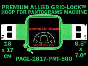 16 x 17 cm (6.5 x 7 inch) Rectangular Premium Allied Grid-Lock Plastic Embroidery Hoop - Pantograms 500