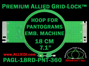 18 cm (7.1 inch) Round Premium Allied Grid-Lock Plastic Embroidery Hoop - Pantograms 360