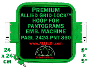 24 x 24 cm (9 x 9 inch) Square Premium Allied Grid-Lock Plastic Embroidery Hoop - Pantograms 360
