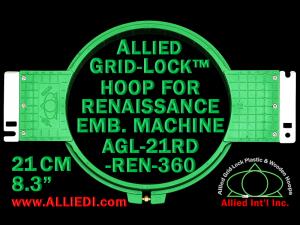 21 cm (8.3 inch) Round Allied Grid-Lock Plastic Embroidery Hoop - Renaissance 360