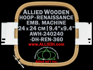 24.0 x 24.0 cm (9.4 x 9.4 inch) Rectangular Allied Wooden Embroidery Hoop, Double Height - Renaissance 360