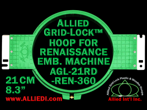 21 cm (8.3 inch) Round Allied Grid-Lock Plastic Embroidery Hoop - Renaissance 360
