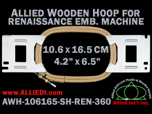 10.6 x 16.5 cm (4.2 x 6.5 inch) Rectangular Allied Wooden Embroidery Hoop, Single Height - Renaissance 360