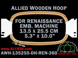 13.5 x 25.5 cm (5.3 x 10.0 inch) Rectangular Allied Wooden Embroidery Hoop, Double Height - Renaissance 360