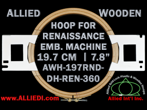 19.7 cm (7.8 inch) Round Allied Wooden Embroidery Hoop, Double Height - Renaissance 360