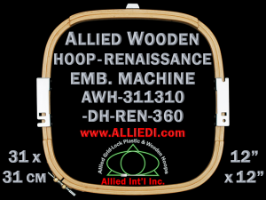 31.1 x 31.0 cm (12.2 x 12.2 inch) Rectangular Allied Wooden Embroidery Hoop, Double Height - Renaissance 360
