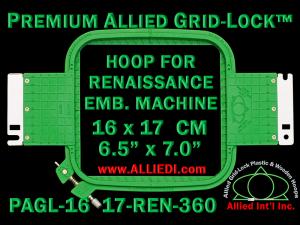 16 x 17 cm (6.5 x 7 inch) Rectangular Premium Allied Grid-Lock Plastic Embroidery Hoop - Renaissance 360