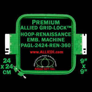 24 x 24 cm (9 x 9 inch) Square Premium Allied Grid-Lock Plastic Embroidery Hoop - Renaissance 360