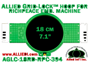 18 cm (7.1 inch) Round Allied Grid-Lock (New Design) Plastic Embroidery Hoop - Richpeace 394