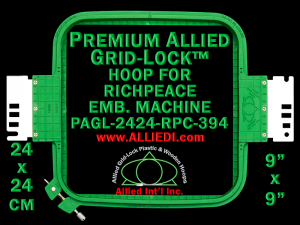24 x 24 cm (9 x 9 inch) Square Premium Allied Grid-Lock Plastic Embroidery Hoop - Richpeace 394
