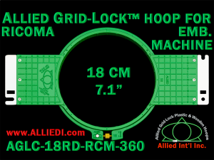 18 cm (7.1 inch) Round Allied Grid-Lock (New Design) Plastic Embroidery Hoop - Ricoma 360