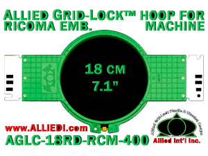 18 cm (7.1 inch) Round Allied Grid-Lock (New Design) Plastic Embroidery Hoop - Ricoma 400