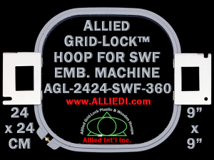 24 x 24 cm (9 x 9 inch) Square Allied Grid-Lock Plastic Embroidery Hoop - SWF 360
