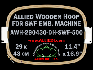 29.0 x 43.0 cm (11.4 x 16.9 inch) Rectangular Allied Wooden Embroidery Hoop, Double Height - SWF 500
