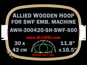 30.0 x 42.0 cm (11.8 x 16.5 inch) Rectangular Allied Wooden Embroidery Hoop, Double Height - SWF 500