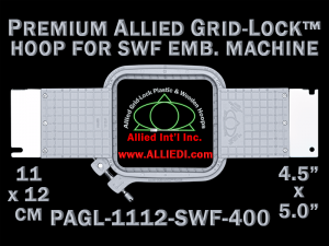 11 x 12 cm (4.5 x 5 inch) Rectangular Premium Allied Grid-Lock Plastic Embroidery Hoop - SWF 400