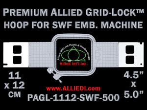 11 x 12 cm (4.5 x 5 inch) Rectangular Premium Allied Grid-Lock Plastic Embroidery Hoop - SWF 500