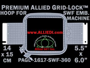 14 x 15 cm (5.5 x 6 inch) Rectangular Premium Allied Grid-Lock Plastic Embroidery Hoop - SWF 360