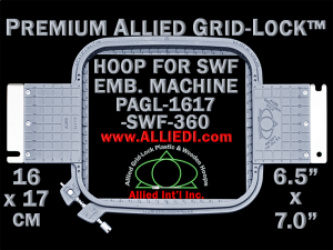 16 x 17 cm (6.5 x 7 inch) Rectangular Premium Allied Grid-Lock Plastic Embroidery Hoop - SWF 360