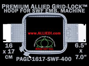 16 x 17 cm (6.5 x 7 inch) Rectangular Premium Allied Grid-Lock Plastic Embroidery Hoop - SWF 400