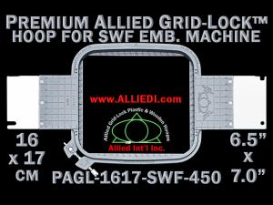 16 x 17 cm (6.5 x 7 inch) Rectangular Premium Allied Grid-Lock Plastic Embroidery Hoop - SWF 450